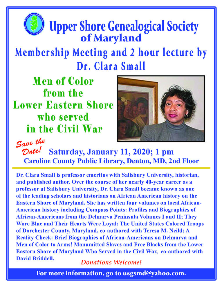 January 11, 2020, USGS General Meeting and Speaker, Dr. Clara Small